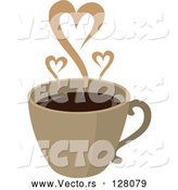 Vector of Steam Hearts Rising from a Brown Cup of Coffee by Rosie Piter