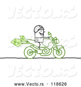Vector of Stick Biker on a Green Motorcycle by NL Shop