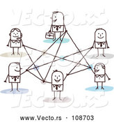 Vector of Stick Business People Connected in a Network by NL Shop