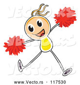 Vector of Stick Cheerleader Girl Jumping by Graphics RF