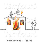 Vector of Stick Guy Standing near His Burning House by NL Shop