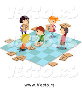 Vector of Stick Kids on a Giant Game Board by BNP Design Studio