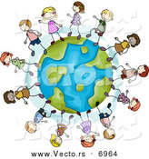Vector of Stick Kids Playing on a Globe by BNP Design Studio