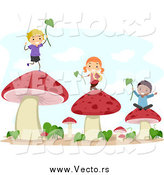 Vector of Stick Kids Playing with Leaves on Mushrooms by BNP Design Studio