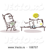 Vector of Stick Male Doctor Listening to a Patient in a Counseling Session by NL Shop