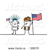 Vector of Stick People Character Couple Touring America, with a Flag and Statue of Liberty by NL Shop