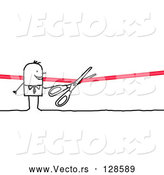 Vector of Stick People Character Cutting a Ribbon with Scissors by NL Shop
