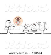 Vector of Stick People Character Doctor Speaking to Lice Covered KChildren by NL Shop