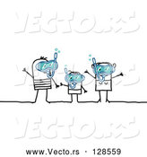 Vector of Stick People Character Family Snorkeling by NL Shop