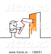 Vector of Stick People Character Painting a Door by NL Shop