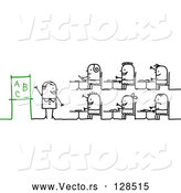 Vector of Stick People Character Teacher and Students Learning the Alphabet by NL Shop