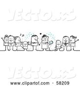 Vector of Stick People Character Wedding with the Guests Tossing Confetti by NL Shop