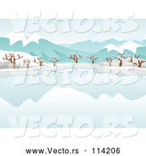 Vector of Still Frozen Lake and Bare Trees with Snow and Mountains by BNP Design Studio
