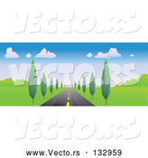 Vector of Strait Tree Lined Road Leading Forward by Rasmussen Images