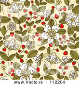 Vector of Strawberry Blossoms, Plants and Berries over Beige - Seamless Background Pattern by Vector Tradition SM