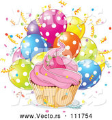 Vector of Strawberry Cupcake with a White Ouline over Confetti and Polka Dot Balloons by Pushkin