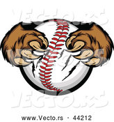 Vector of Strong Cartoon Bear Paws Tightly Gripping a Baseball with Its Sharp Claws by Chromaco