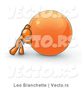 Vector of Strong Orange Business Guy Pushing an Orange Sphere by Leo Blanchette