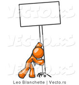 Vector of Strong Orange Guy Pushing a Blank Sign Upright by Leo Blanchette
