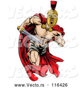 Vector of Strong Spartan Trojan Warrior Mascot Running with a Sword by AtStockIllustration