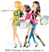 Vector of Stylish Young Girls Getting Excited and Shopping by BNP Design Studio