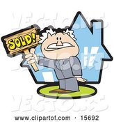 Vector of Successful Male Realtor Standing in Front of a House and Holding a Sold Sign by Andy Nortnik