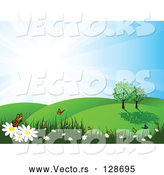 Vector of Summer Nature Scene of Butterflies on Flowers in a Meadow by KJ Pargeter