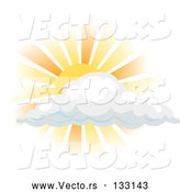 Vector of Sun Shining Behind a Cloud by AtStockIllustration