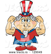 May 3rd, 2018: Vector of Super Uncle Sam in a Cape, Flexing His Muscles by Dennis Holmes Designs