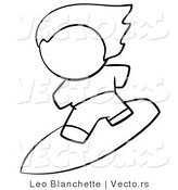 Vector of Surfer Dude - Coloring Page Outlined Art by Leo Blanchette