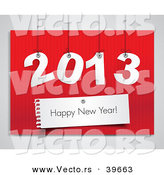 Vector of Suspended 2013 over Red with Happy New Year Greeting over Red by Eugene