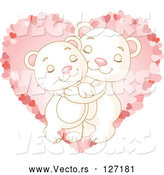 May 4th, 2018: Vector of Sweet Polar Bear Couple Hugging over a Pink Heart by Pushkin