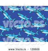Vector of Swimming Sharks - Blue Background Theme by Prawny