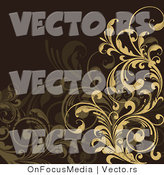 Vector of Tan and Brown Floral Scrolls and Vines over Brown Background Design by OnFocusMedia