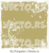 Vector of Tan Floral Vines - Grunge Background with White Borders by KJ Pargeter