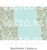 Vector of Tan Vines on Blank Blue Invitation Background by BestVector