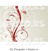 Vector of Tan, White and Red Vines over Beige Background Design by KJ Pargeter