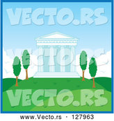 Vector of Temple with Columns in a Hilly Landscape at Day Time by Rosie Piter