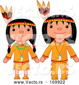 Vector of Thanksgiving Native American Girl and Boy by Pushkin