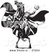Vector of the Headless Horseman Rearing up on His Horse - Black and White Line Art by Lawrence Christmas Illustration