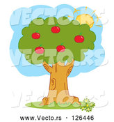 Vector of the Summer Sun Behind a Healthy Red Apple Tree by Hit Toon
