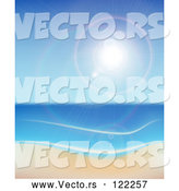 May 3rd, 2018: Vector of the Sun Shining over the Sea and a Beach by Vectorace