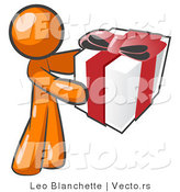 Vector of Thoughtful Orange Guy Holding a Christmas, Birthday, Valentine's Day or Anniversary Gift Wrapped in White Paper with Red Ribbon and a Bow by Leo Blanchette