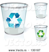Vector of Three Clear Trash Cans, One with Blue Recycle Arrows, One with Green Recycle Arrows, over a White Background by Beboy