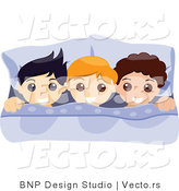 Vector of Three Happy Boys Laying in Bed by BNP Design Studio