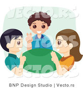 Vector of Three Happy Children Using Sign Language by BNP Design Studio