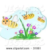 Vector of Three Happy Honey Bees Flying over Flowers on a Beautiful Day by
