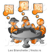 Vector of Three Orange Guys Using Laptops in an Internet Cafe by Leo Blanchette