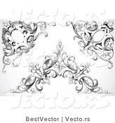 Vector of Three Unique Black Floral Vines with Leaves - Digital Collage Corner Border Elements by BestVector