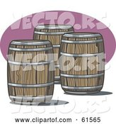 Vector of Three Wooden Whiskey Barrels by R Formidable